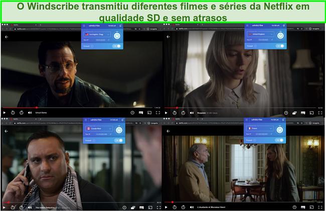 Capturas de tela do Windscribe acessando Netflix nos EUA, Reino Unido, Canadá e França
