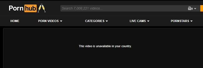 Pornhub video not available in your location message