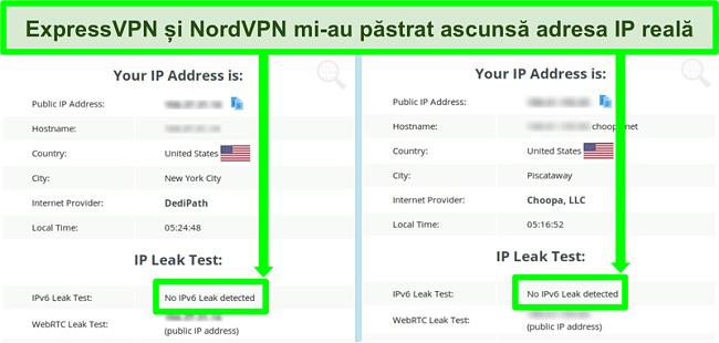Captură de ecran care nu arată nicio scurgere IPv6 atât pentru NordVPN cât și pentru ExpressVPN