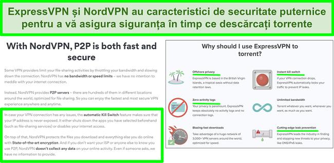 Captură de ecran a site-urilor web NordVPN și ExpressVPN care arată că acceptă torrentarea