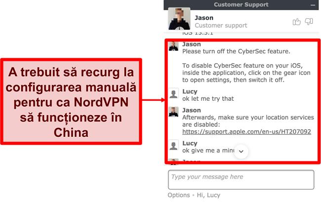Captură de ecran a chat-ului cu NordVPN care solicită sfaturi despre cum să aplicați să funcționeze în China