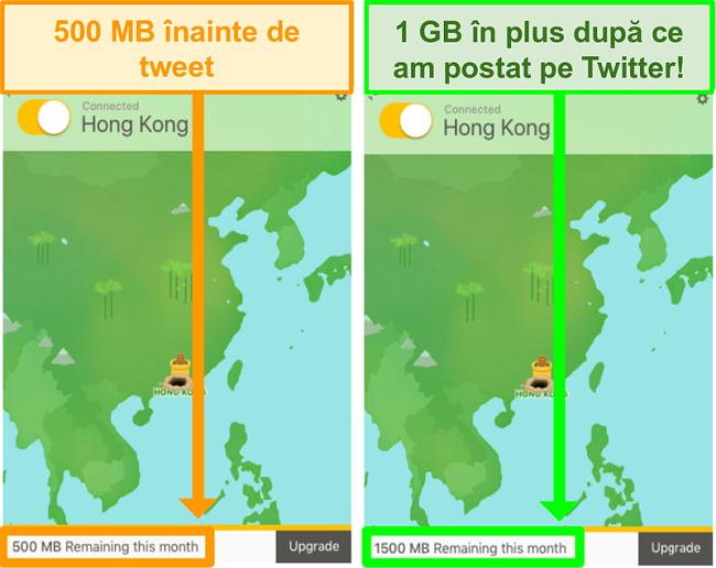Captură de ecran a TunnelBear oferind 1 GB de date suplimentare pentru tweeting