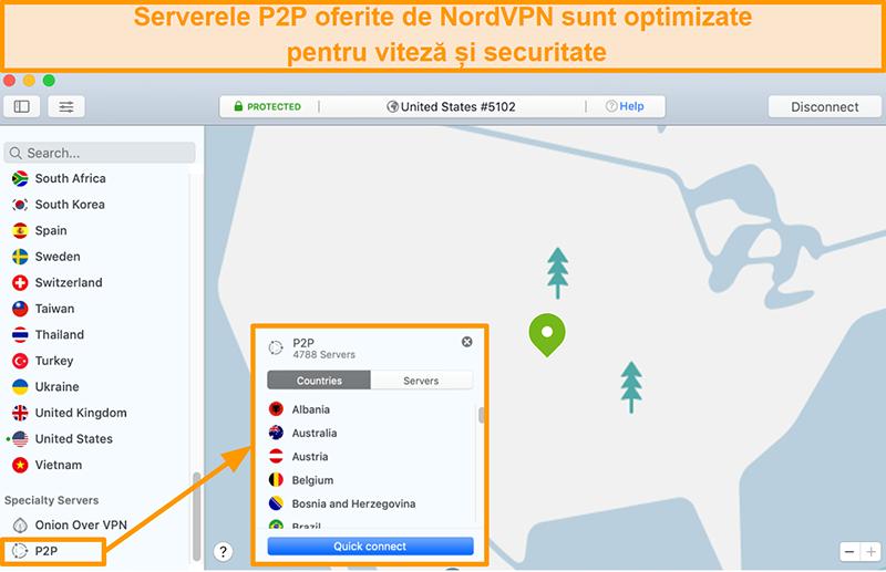 Captură de ecran a serverelor P2P ale NordVPN din aplicația Mac