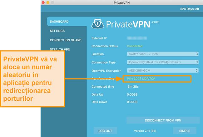 Captură de ecran a PrivateVPN cu numărul de redirecționare a porturilor vizibil în aplicația Mac