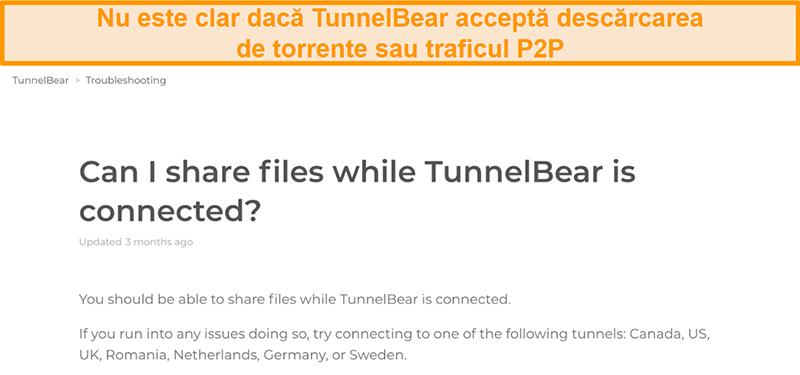 Captură de ecran a paginii de depanare a TunnelBear privind partajarea fișierelor