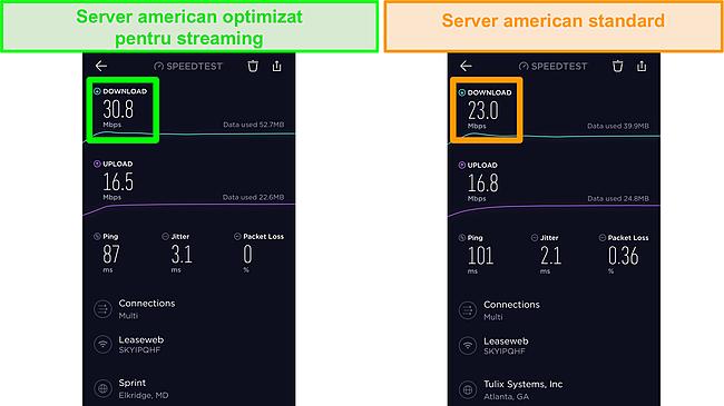 Captură de ecran a testelor de viteză Ookla iOS