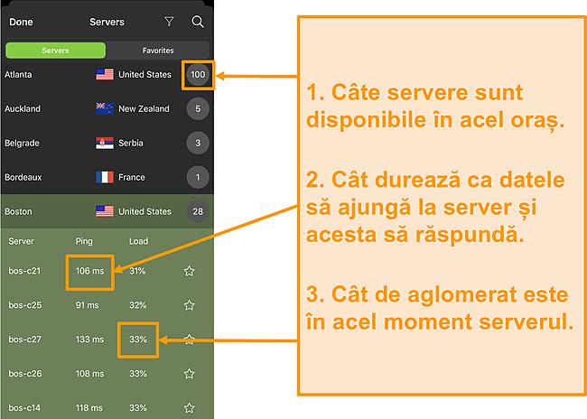 Captură de ecran a listei de servere IPVanish cu numerele de server, ping și încărcarea serverului evidențiate
