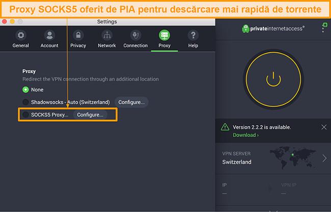 Captură de ecran a interfeței aplicației PIA care arată opțiunea proxy SOCKS5 în setări