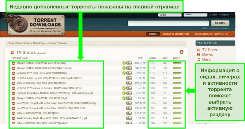 Скриншот целевой страницы TorrentDownloads