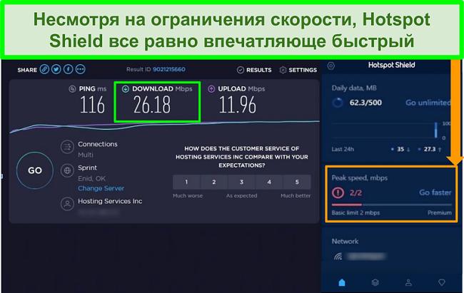 Снимок экрана с результатами теста скорости при подключении к интерфейсу Hotspot Shield