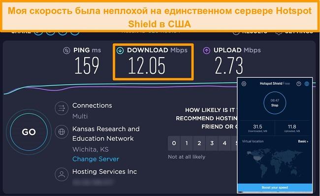Снимок экрана бесплатной версии Hotspot Shield на Mac, подключенной к американскому серверу, с результатами теста скорости