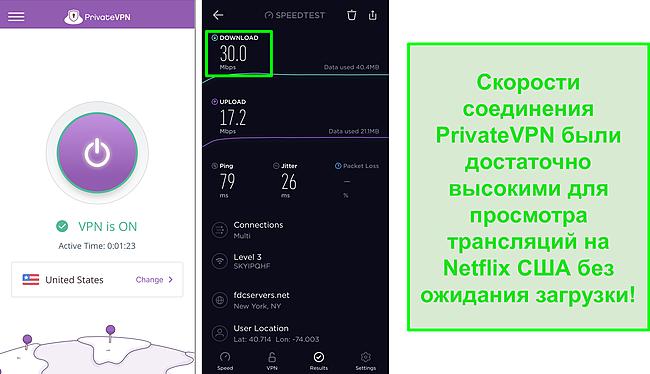 Скриншот PrivateVPN, подключенного к серверу в США, и тест скорости Ookla