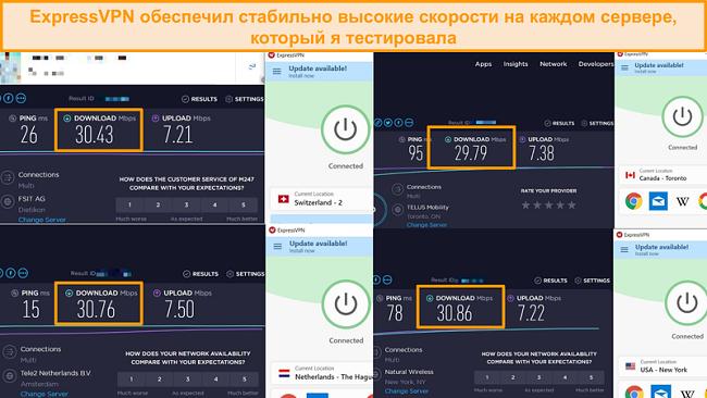 Скриншот сравнения скорости между различными серверами ExpressVPN