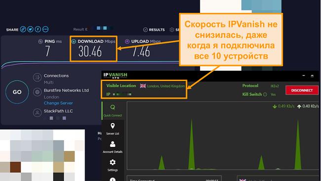 Скриншот теста скорости с подключением IPVanish