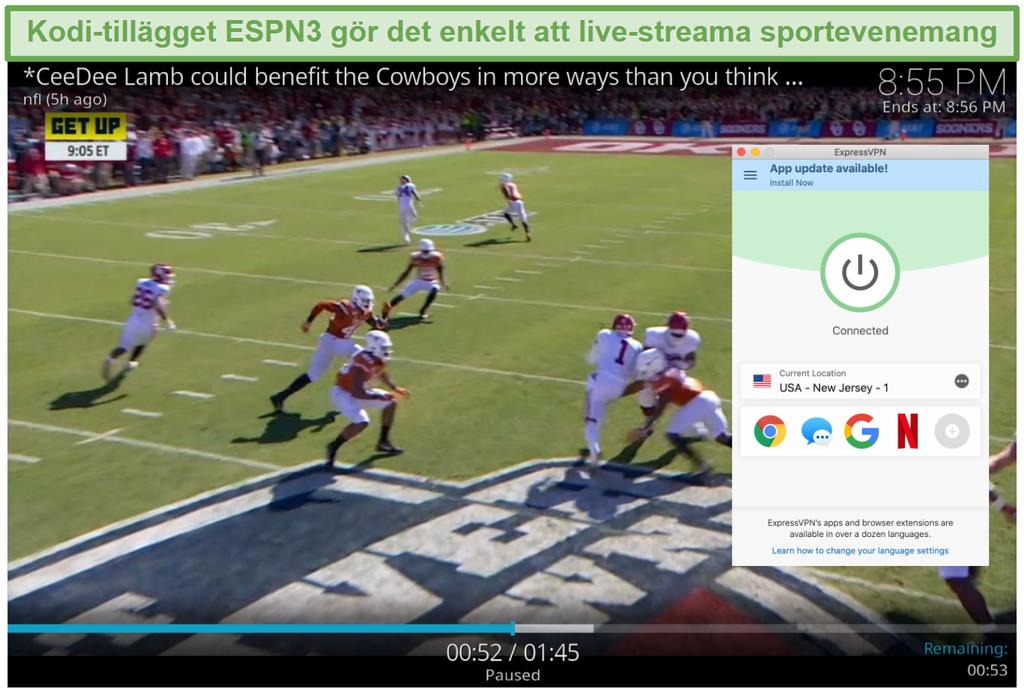 Skärmdump av strömmande fotboll på ESPN3 med Kodi