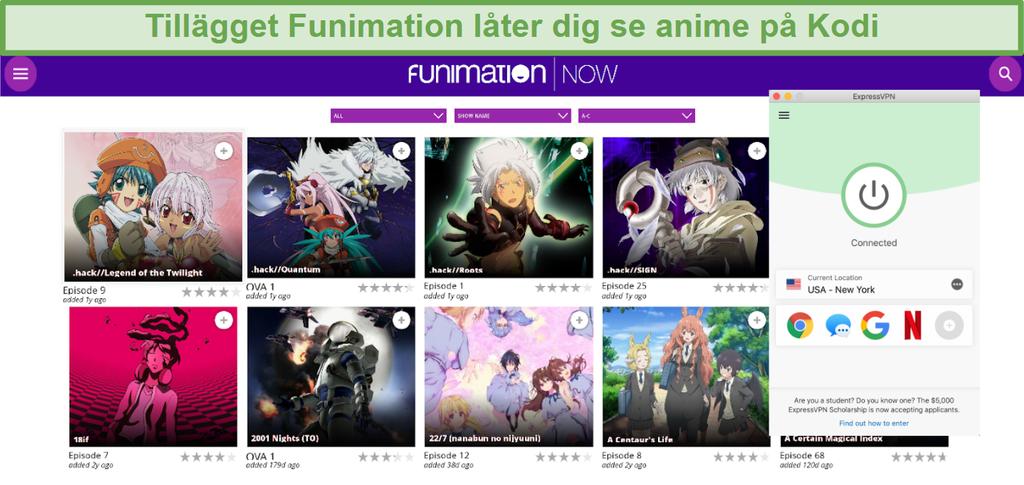 Skärmdump av tillgängligt FunimationNOW-innehåll på Kodi