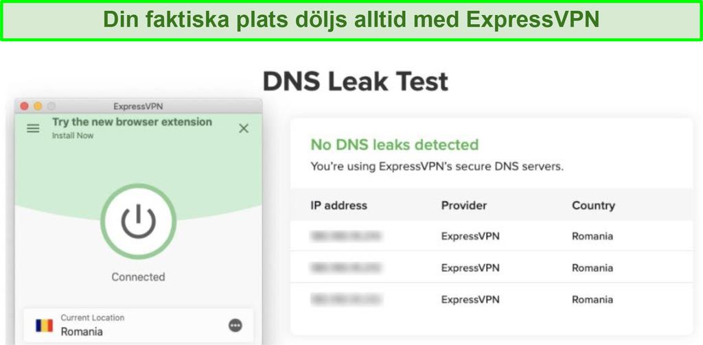 skärmdump av framgångsrikt DNS-läckagetest med ExpressVPN för Kodi