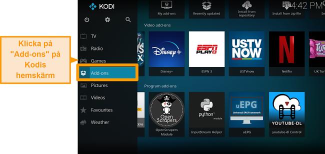 skärmdump av hur man installerar officiellt kodi addon steg två klick addons