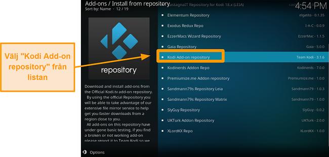 skärmdump av hur man installerar det officiella kodi-tillägget steg fem, klicka på Kodi-tillägg i arkivet från listan