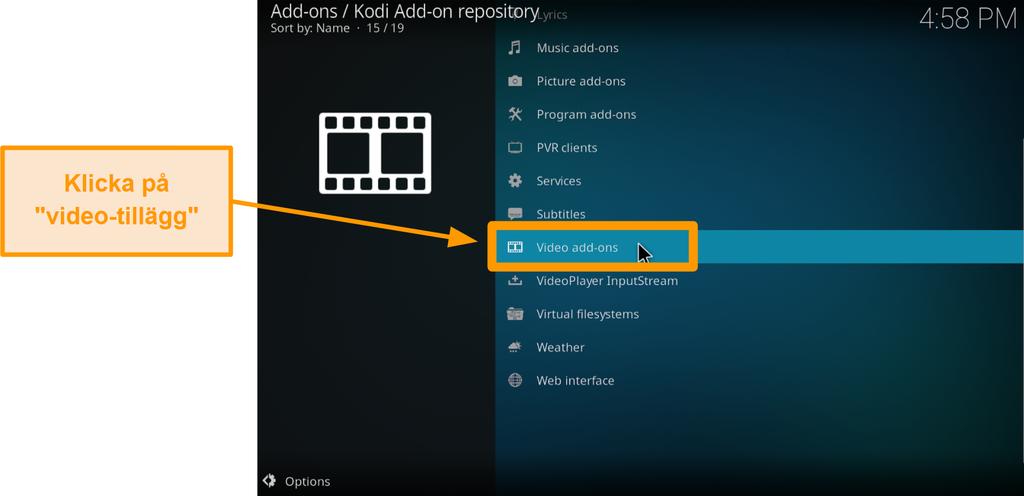 skärmdump av hur man installerar officiellt kodi-tillägg steg sex klicka på videotillägg