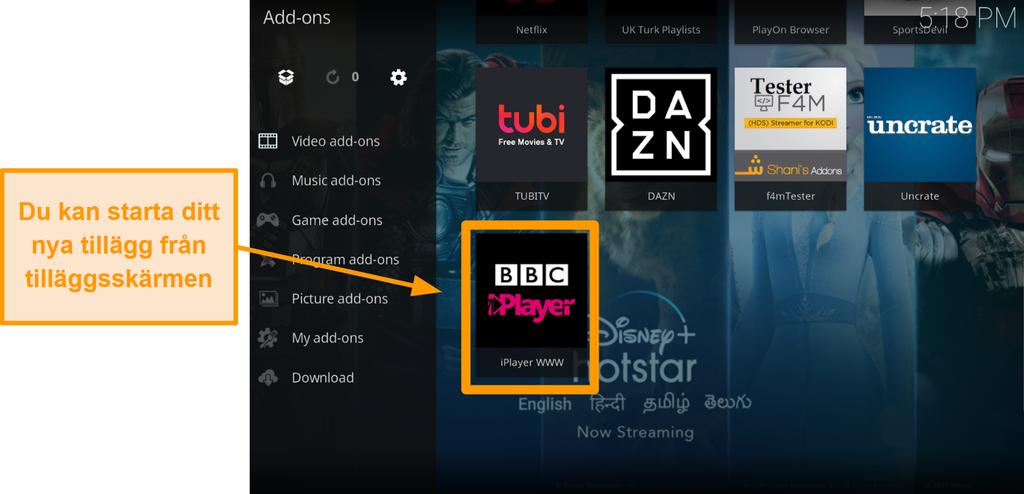 skärmdump av hur man installerar officiellt kodi addon steg elva startar nytt addon från hemsidan