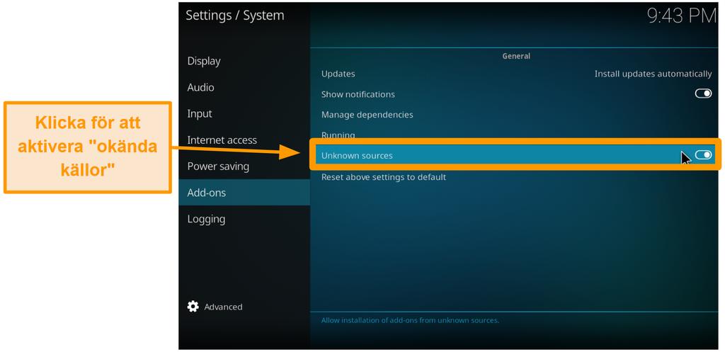 skärmdump hur man installerar kod från tredje part steg 4 aktivera okända källor