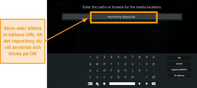 skärmdump hur man installerar tredjeparts kodi addon steg 8 typ källurl