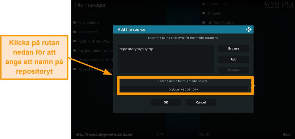 skärmdump hur man installerar tredje part kodi addon steg 9 typ namn på repo