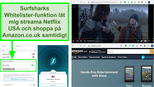 Skärmbilder av Netflix USA och Amazon UK som används samtidigt på grund av Surfsharks Whitelister-funktion