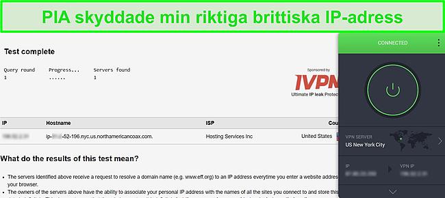 Skärmdump av PIA ansluten till US-server och DNS-läckagetestresultat visar inga läckor
