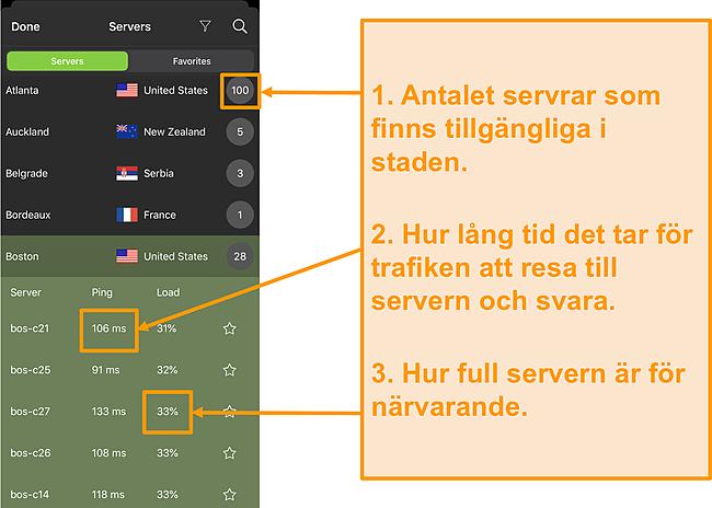 Skärmdump av IPVanish-serverlistan med servernummer, ping och serverbelastning markerade