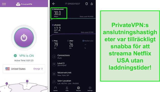 Skärmdump av PrivateVPN ansluten till amerikansk server och Ookla hastighetstest