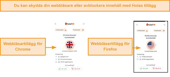 Skärmdump av Hola VPN: s Chrome- och Firefox-webbläsartillägg