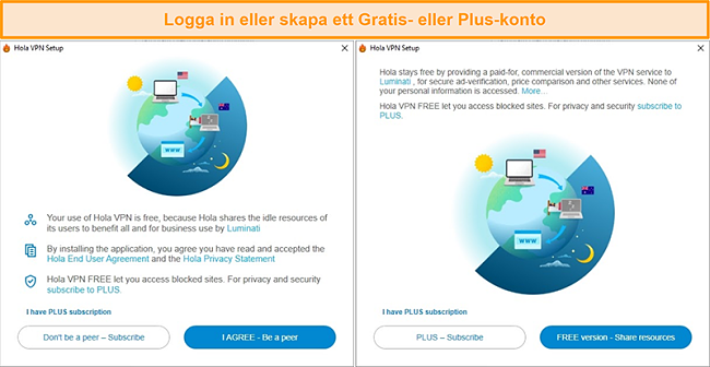 Skärmdumpar av Hola VPN-installationsprocessen