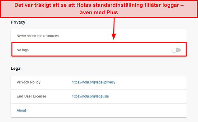 Skärmdump av Hola VPN: s inställningar för inga loggar