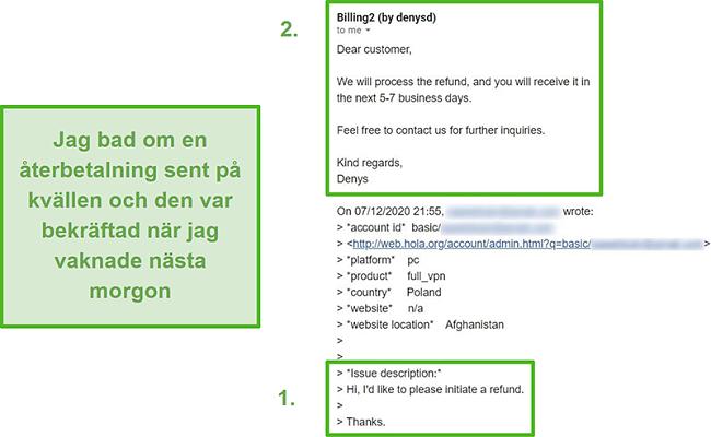 Skärmdump av ett e-postmeddelande från Hola VPN som bekräftar en återbetalning inom tio timmar efter den ursprungliga begäran