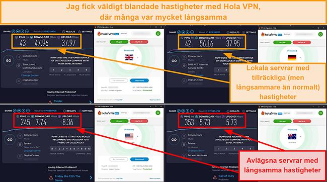 Skärmdump av Hola VPN-hastighetstester från Storbritannien (47 Mbps), Tyskland (56 Mbps), USA (7 Mbps) och Australien (5 Mbps)