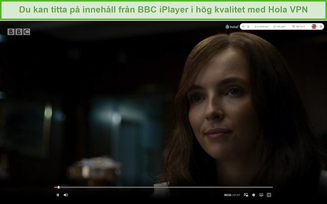Skärmdump av Hola VPN som avblockerar Killing Eve på BBC iPlayer