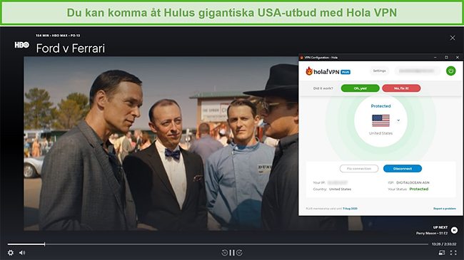 Skärmdump av Hola VPN som avblockerar Ford v Ferrari på Hulu
