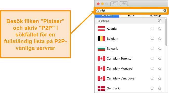 Skärmdump av Surfsharks P2P-servrar i Mac-appen