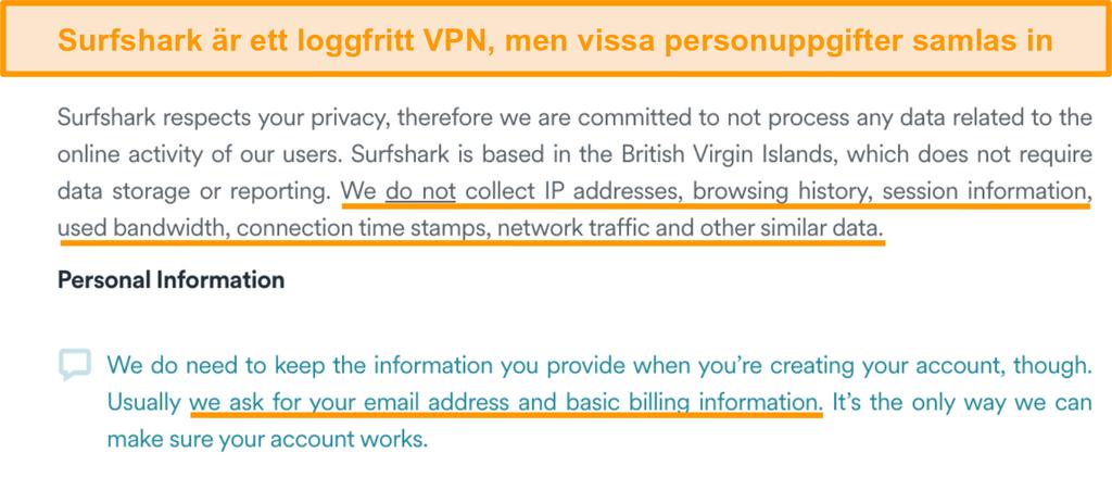 Skärmdump av Surfsharks sekretesspolicy