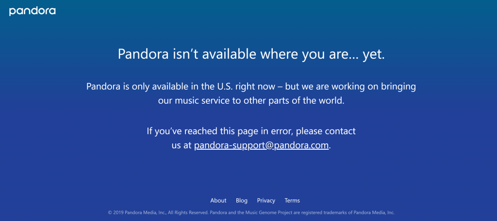 error message from Pandora
