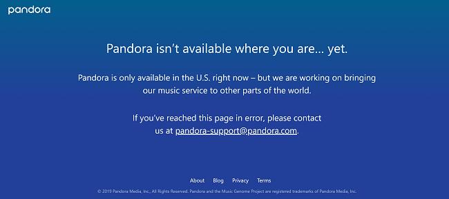 error message from Pandora