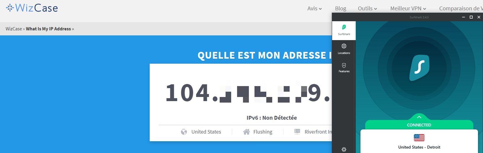 Outil Wizcase: quelle est mon adresse IP?