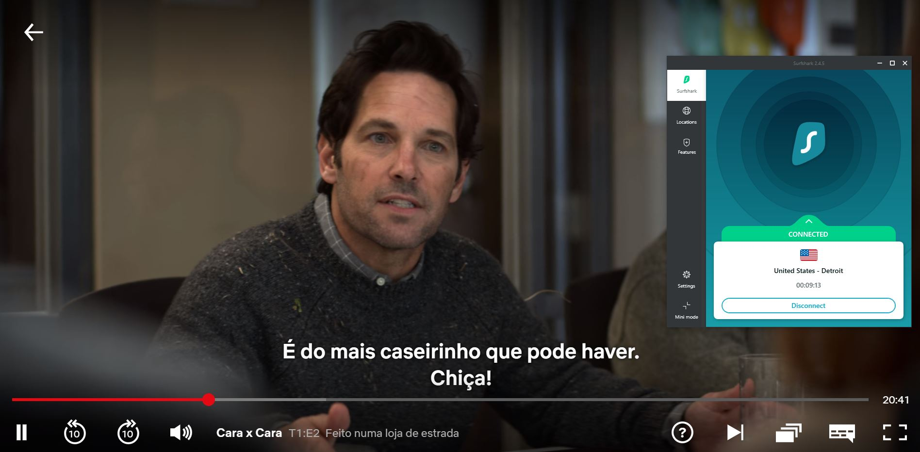 captura de tela do streaming na netflix com Surfshark -