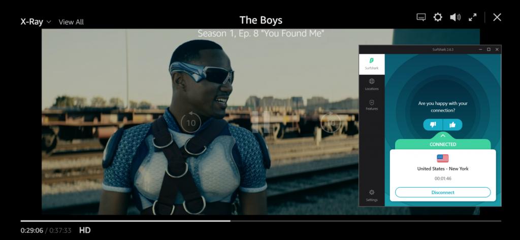 لقطة شاشة لـ The Boys يلعبون على Amazon Prime مع اتصال Surfshark بخادم أمريكي