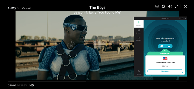Screenshot z filmu The Boys playing on Amazon Prime with Surfshark connected to a US server