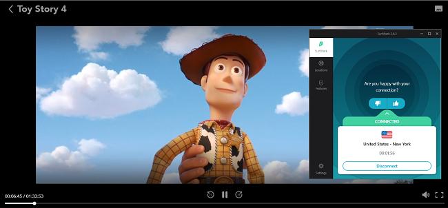 Tangkapan layar streaming Toy Story 4 di Disney + dengan Surfshark yang tersambung ke server AS