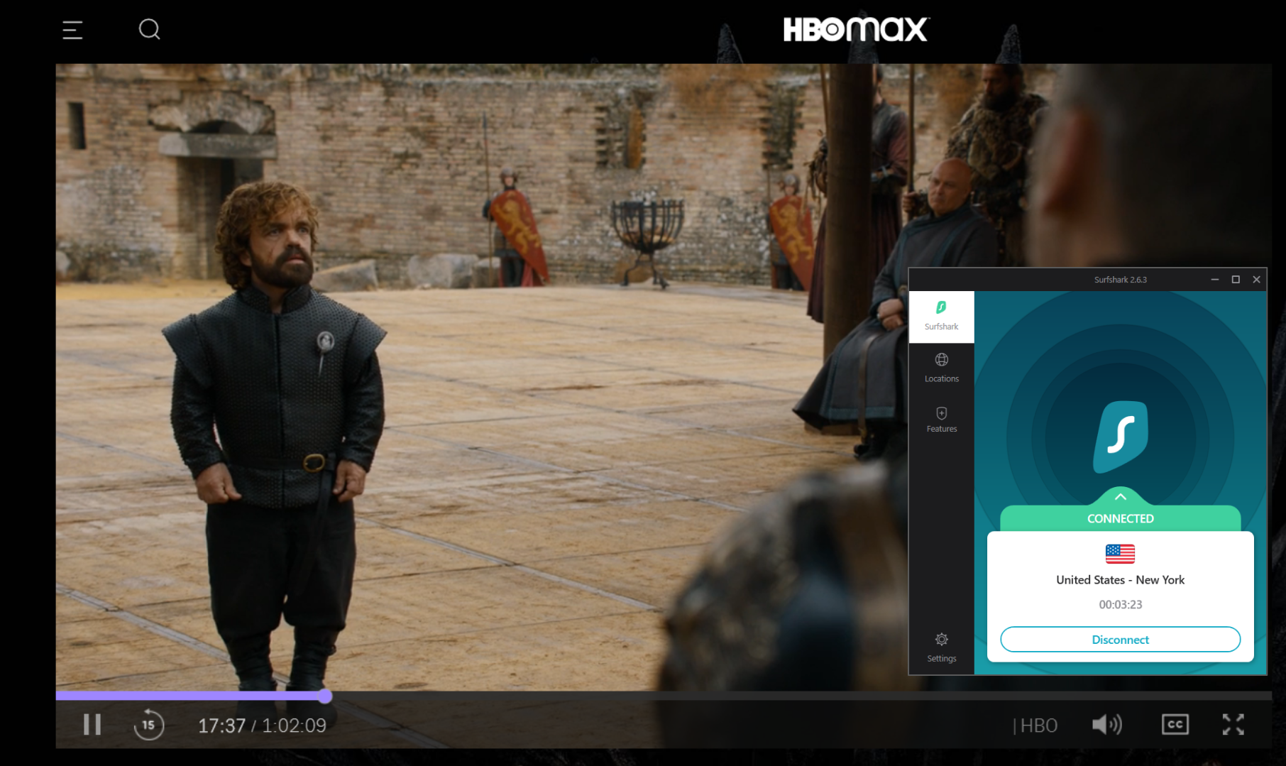 Captura de tela de Game of Thrones streaming no HBO Max e Surfshark conectado a um servidor dos EUA