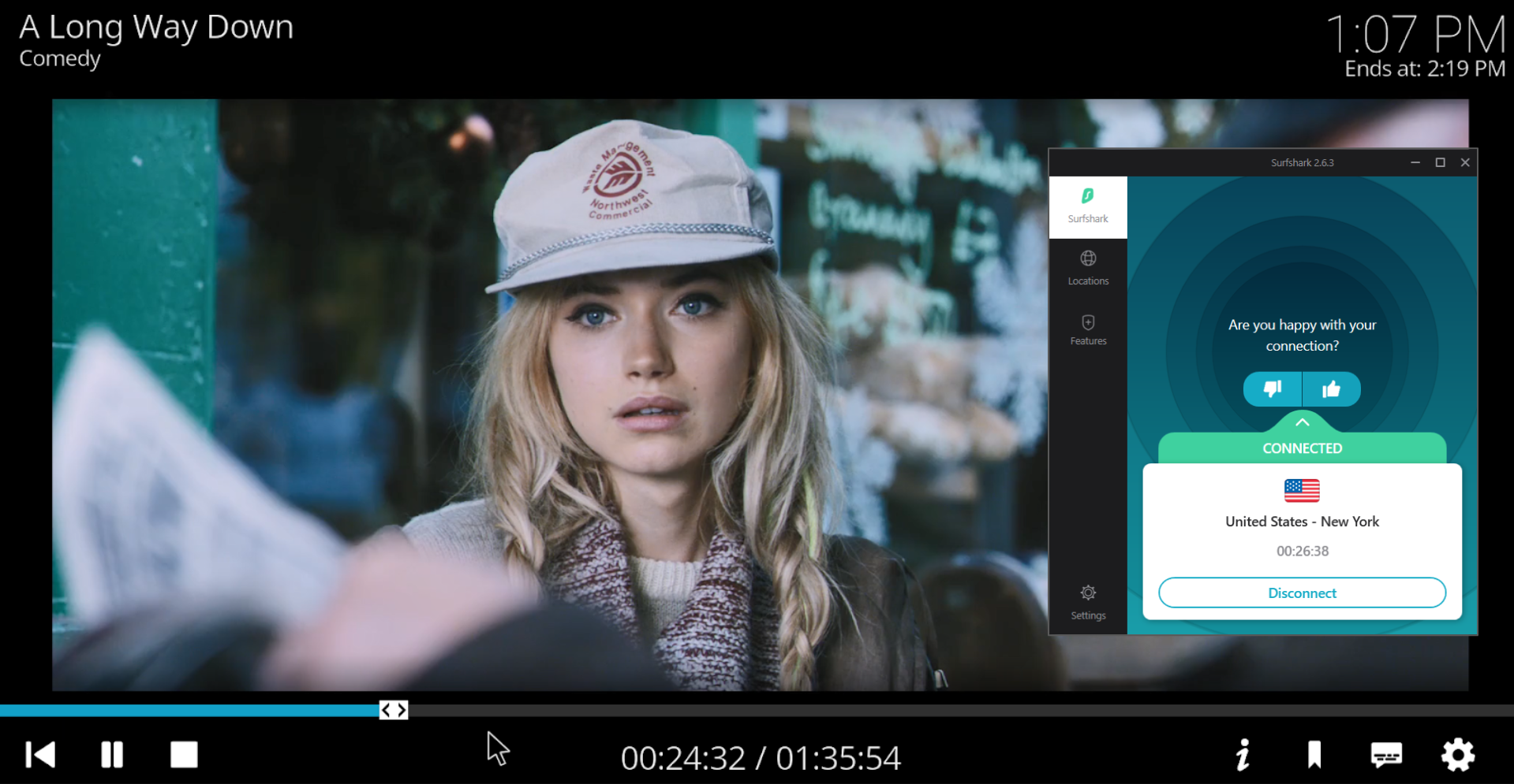 Screenshot of PopcornFlix on Kodi streaming a movie and Surfshark connected to a US server